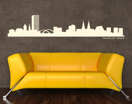 wandtattoo skyline frankfurt oder wandbild silhouette. Black Bedroom Furniture Sets. Home Design Ideas