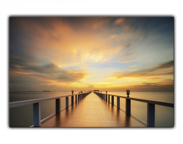 Alu-Dibond Wandbild Holzsteg Sonnenaufgang