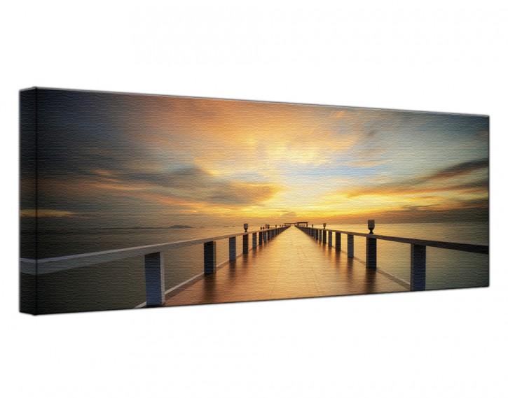 Leinwandbild Holzsteg Sonnenaufgang Lang