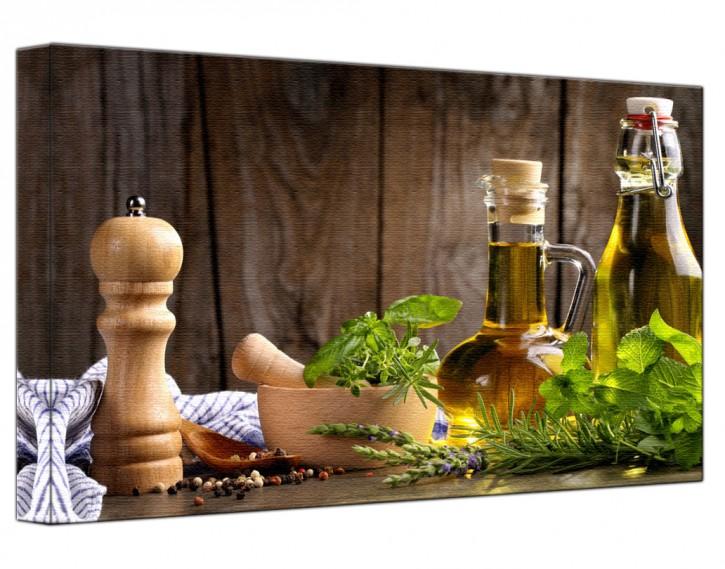 Leinwandbild Kräuter und Öle