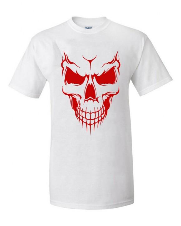 T-Shirt Skull Totenkopf Biker Rocker weiß