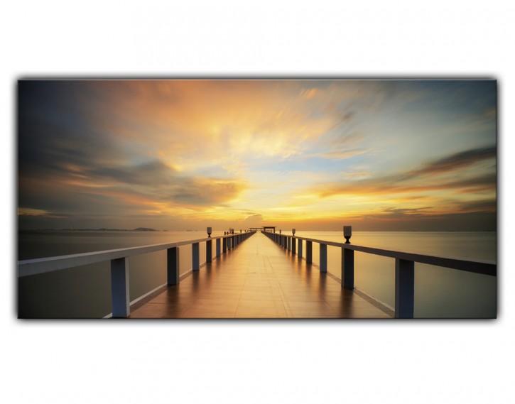 Alu-Dibond Wandbild Holzsteg Sonnenaufgang Lang