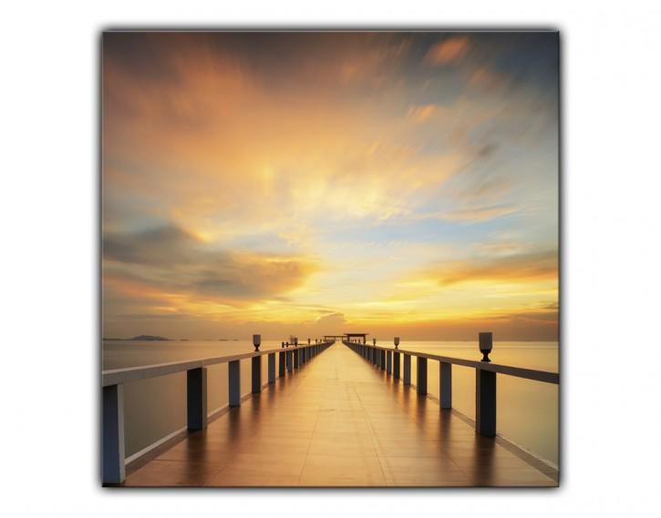 Alu-Dibond Wandbild Holzsteg Sonnenaufgang quadratisch