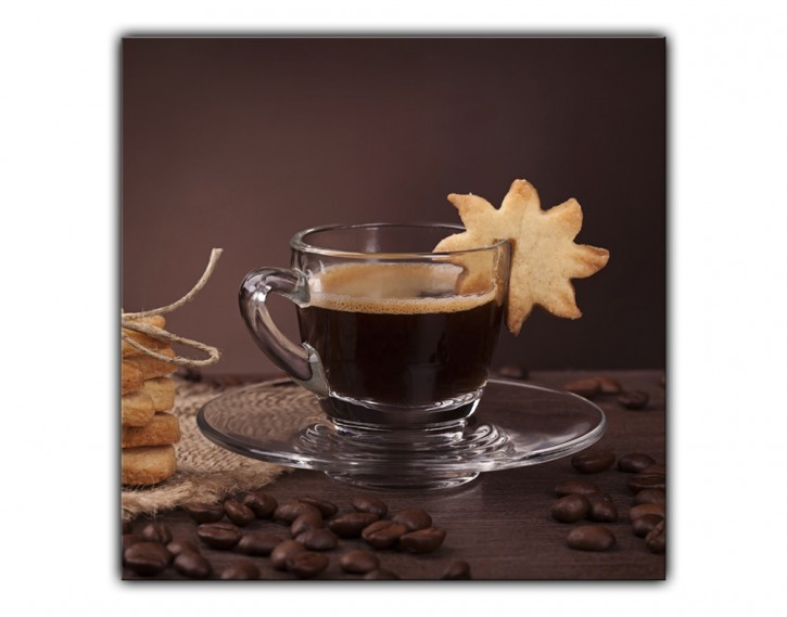 Alu-Dibond Wandbild Kaffee quadratisch
