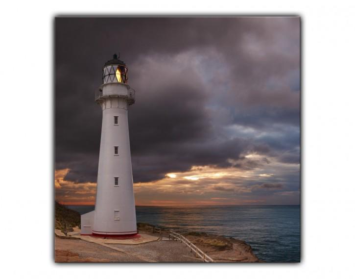 Alu-Dibond Wandbild Leuchtturm quadratisch