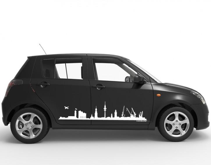 Autoaufkleber Skyline Hamburg mit Elbphilharmonie