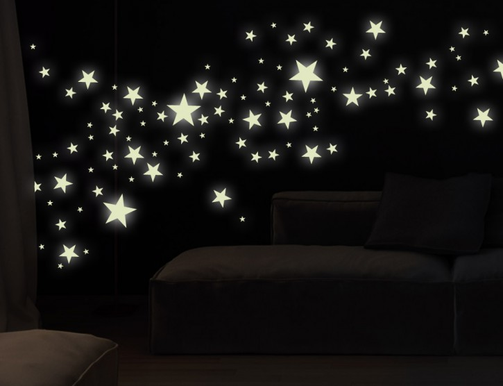 Wandtattoo Leuchtaufkleber-Set Sterne 5-zackig