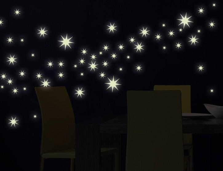 Wandtattoo Leuchtaufkleber-Set Sterne 8-zackig