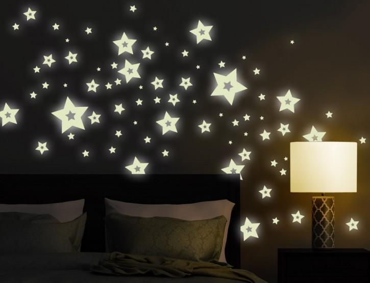 Wandtattoo Leuchtaufkleber-Set Sterne 5-zackig mit Hohlraum