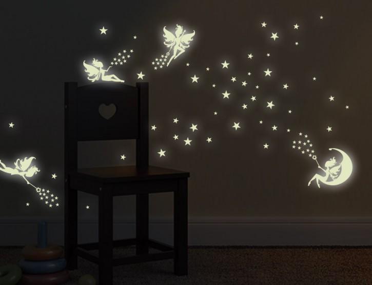 Wandtattoo Leuchtaufkleber Zahnfee Sterne-Set