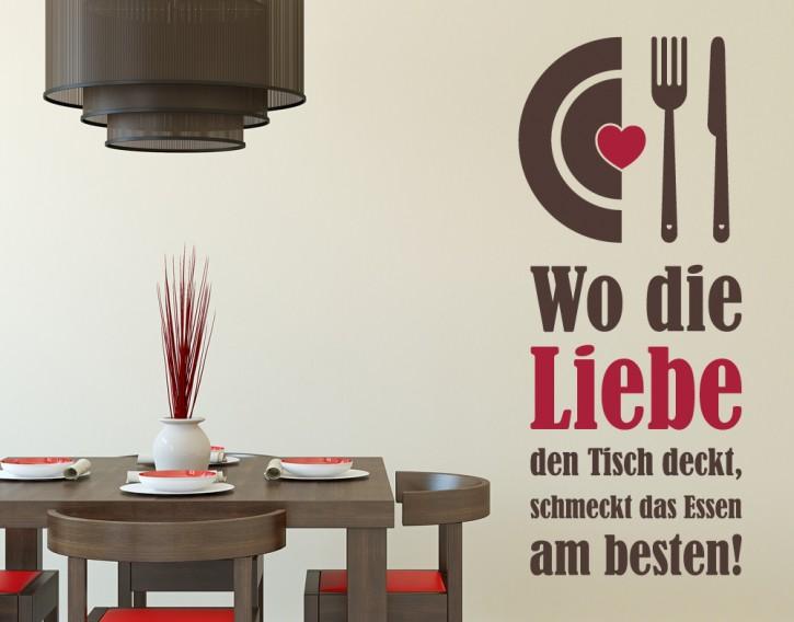 Wandtattoo Wo die Liebe den Tisch deckt 2-farbig