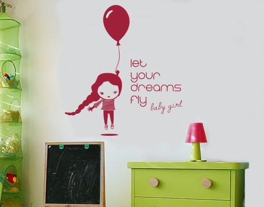 Wandtattoo Girl baloon
