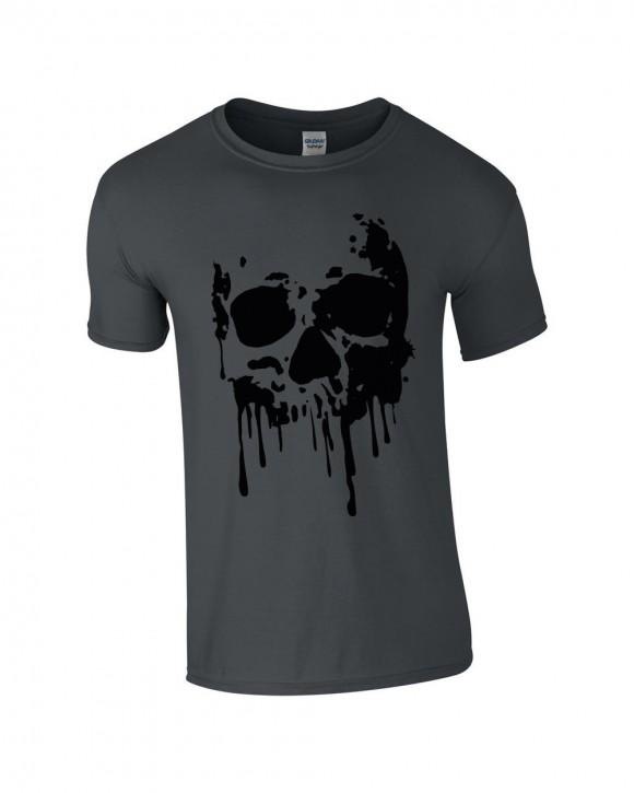 T-Shirt grau Skull Totenkopf Blood
