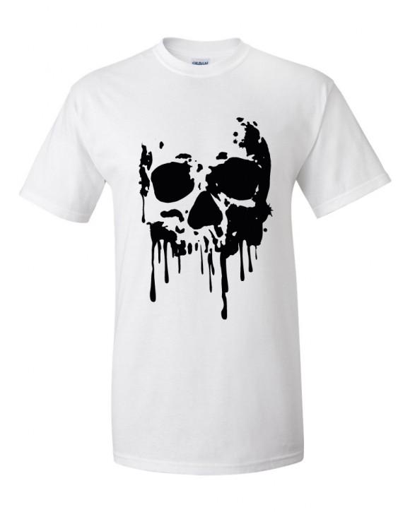 T-Shirt weiß Skull Totenkopf Blood