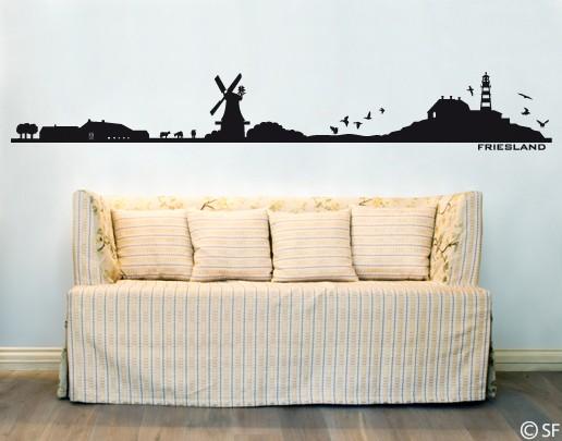 Wandtattoo friesland silhouette skyline nordsee uss159 for Bildmotive wohnzimmer