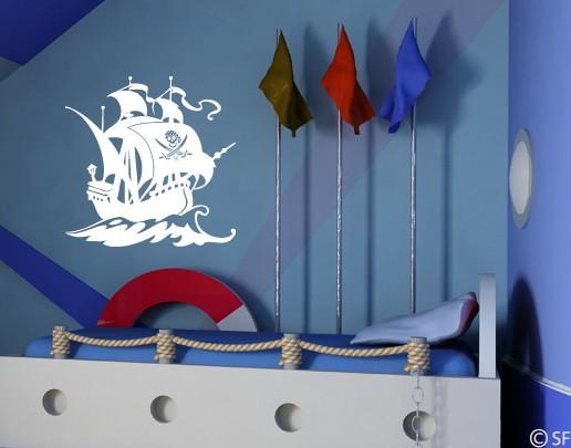 wandtattoo wandaufkleber pirat kinderzimmer piratenschiff. Black Bedroom Furniture Sets. Home Design Ideas