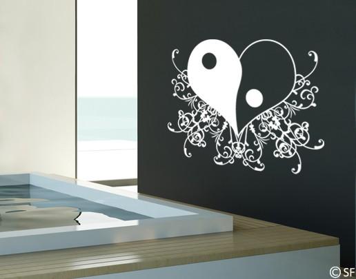 Wandtattoo Yin & Yang Herz