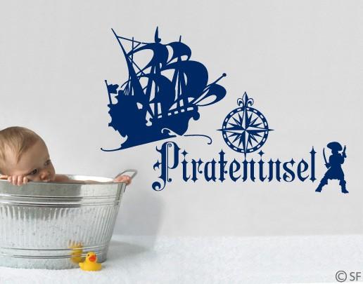 wandtatoo piratenschiff pirat badezimmer kinderzimmer wandaufkleber deko uss385. Black Bedroom Furniture Sets. Home Design Ideas