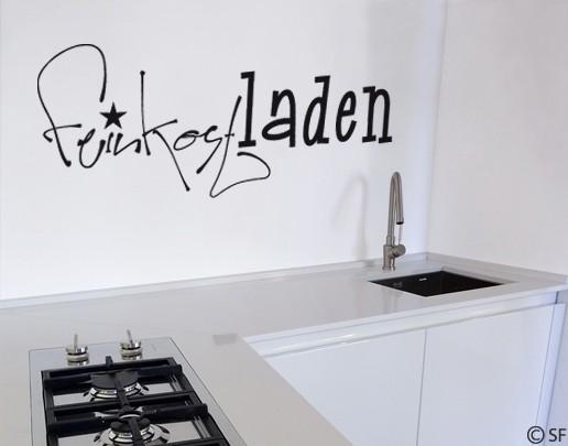 Wandtattoo feinkostladen k che besteck kochen deco gourmet uss425 ebay - Wandtattoo besteck ...