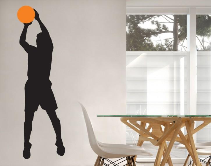 Wandtattoo Basketballer Freiwurf 2-farbig