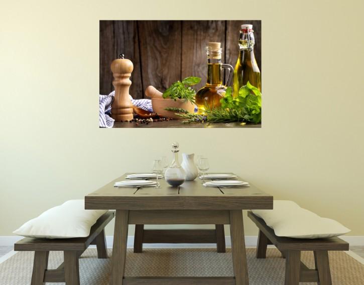 Selbstklebendes Wandbild Kräuter und Öle