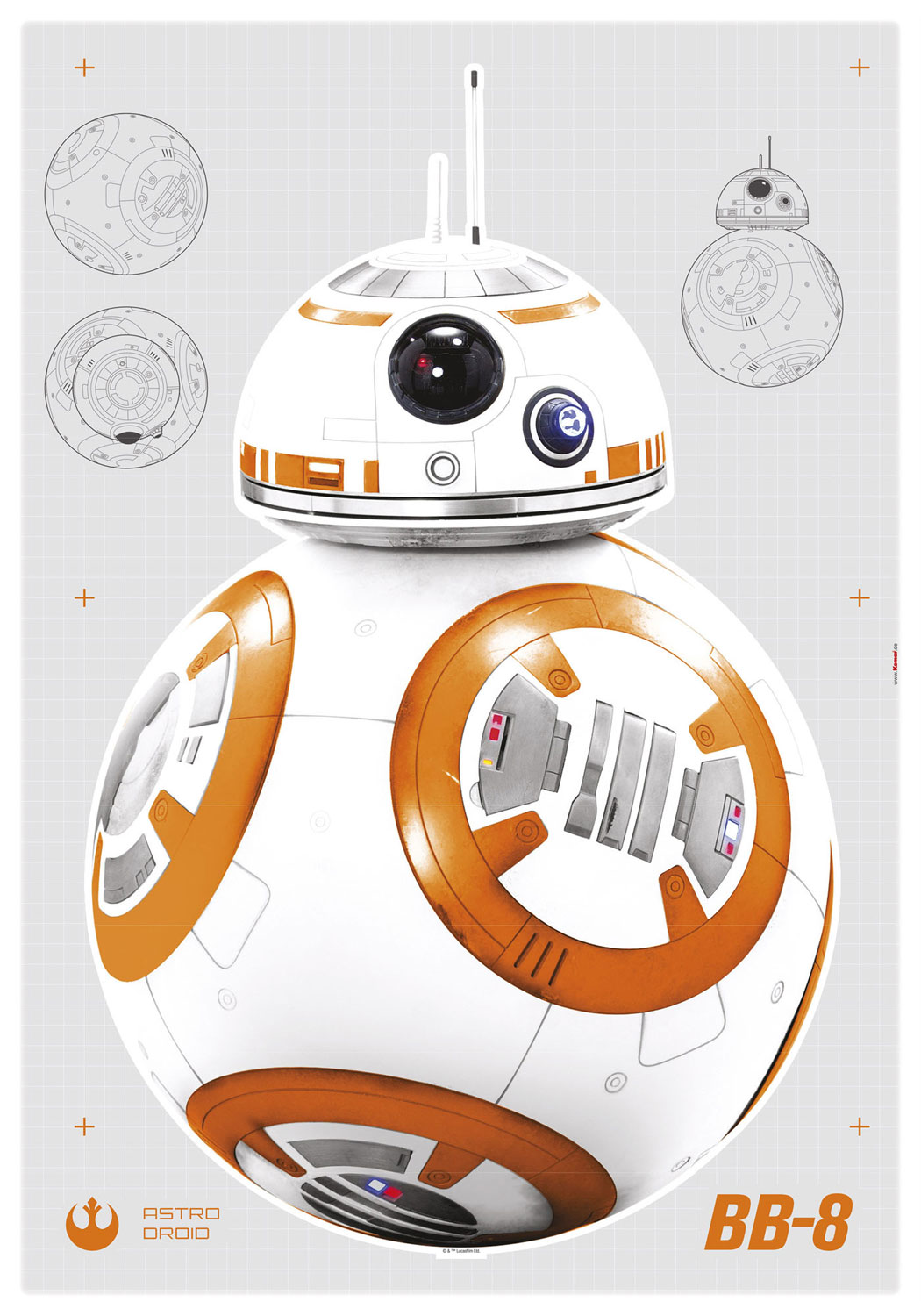wandsticker star wars bb 8 wandaufkleber kinderzimmer. Black Bedroom Furniture Sets. Home Design Ideas