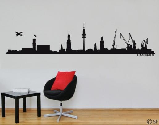 wandtattoo hamburg skyline hamburg wandtattoo. Black Bedroom Furniture Sets. Home Design Ideas