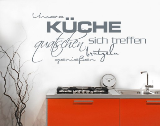 wandtattoo unsere k che wandtattoos zitate und spr che. Black Bedroom Furniture Sets. Home Design Ideas
