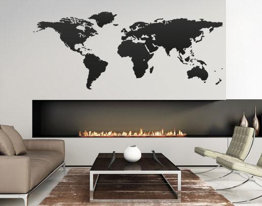 wandtattoo weltkarte f r ihre wand von. Black Bedroom Furniture Sets. Home Design Ideas