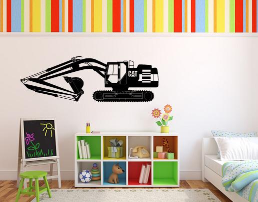 wandtattoo bagger f r eigene baustelle im kinderzimmer. Black Bedroom Furniture Sets. Home Design Ideas