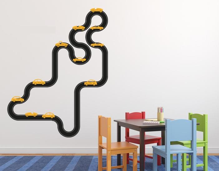 Wandtattoo Auto-Rennbahn - 2-farbig für Kinderzimmer