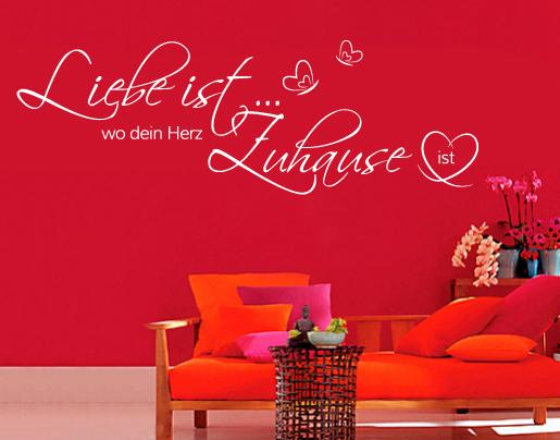 wandtattoo liebe ist wo dein herz zuhause universumusm. Black Bedroom Furniture Sets. Home Design Ideas