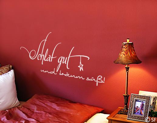 wandtattoo schlaf gut und tr um s dekorativ im schlafzimmer. Black Bedroom Furniture Sets. Home Design Ideas