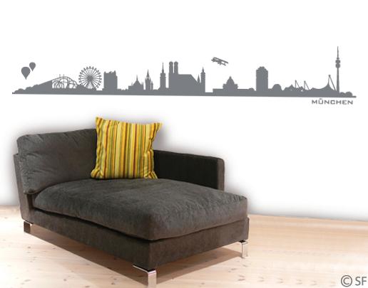 wandtattoo m nchen skyline m nchens skyline. Black Bedroom Furniture Sets. Home Design Ideas