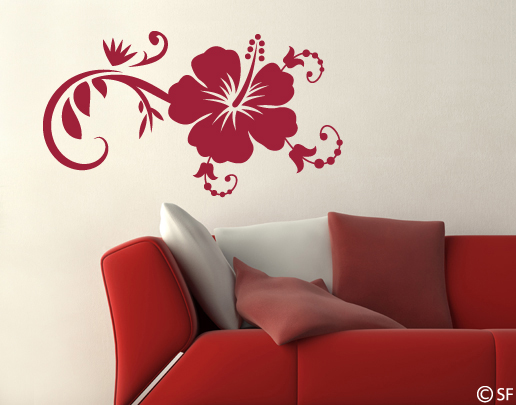 wandtattoo hibiskus blumen wandtattoo universumsum. Black Bedroom Furniture Sets. Home Design Ideas