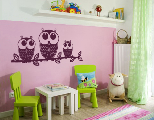 wandtattoo eulentrio sch nes wandtattoo f r kinderzimmer. Black Bedroom Furniture Sets. Home Design Ideas