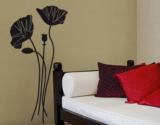 wandtattoo mohnblumen. Black Bedroom Furniture Sets. Home Design Ideas