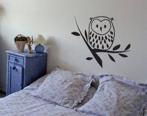 wandtattoo eulchen auf ast sch nes wandtattoo f r kinderzimmer. Black Bedroom Furniture Sets. Home Design Ideas