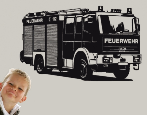 wandtattoo feuerwehr truck f rs kinderzimmer erh ltlich. Black Bedroom Furniture Sets. Home Design Ideas