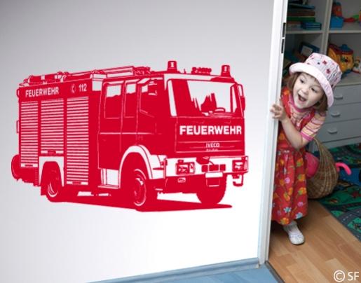 wandtattoo feuerwehr truck f rs kinderzimmer erh ltlich. Black Bedroom Furniture Sets. Home Design Ideas