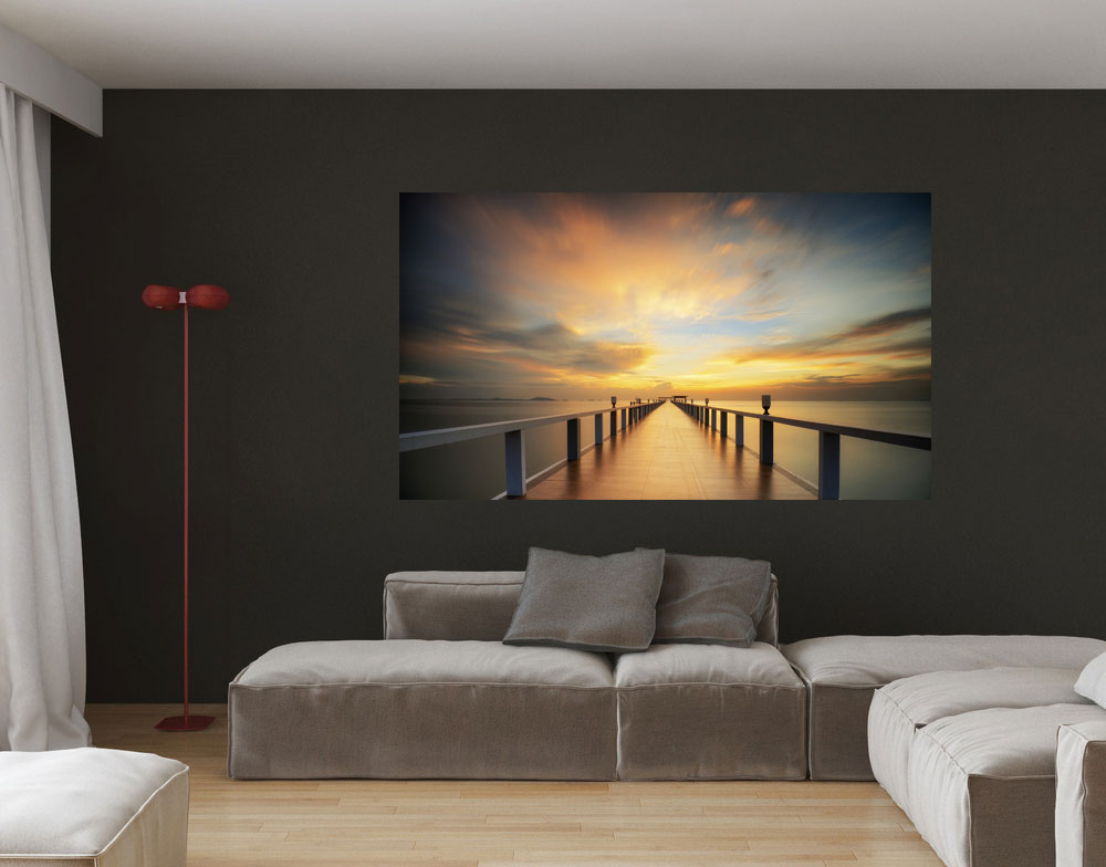 alu dibond wandbild seebr cke sonnenaufgang. Black Bedroom Furniture Sets. Home Design Ideas