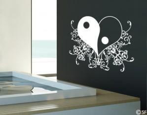 wandtattoo yin yang herz wandtattoos v universumsum. Black Bedroom Furniture Sets. Home Design Ideas