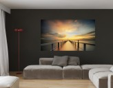 Selbstklebendes Wandbild Holzsteg Sonnenaufgang