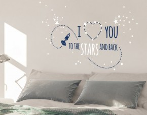 Wandtattoo Love you to the stars 2-farbig