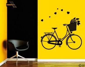 Wandtattoo Fahrrad mit Tulpen und Herzchen