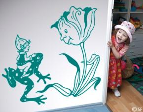Wandtattoo Elfenkind und Frosch