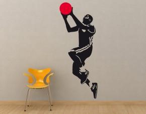Wandtattoo Basketballer Korbwurf 2-farbig